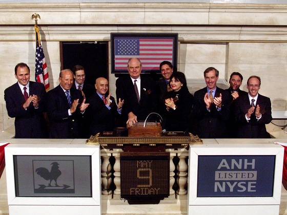 Mr. Lloyd McAdams, Anworth's Chief Executive Officer, rings the opening bell on the New York Stock Exchange on May 9, 2003.</